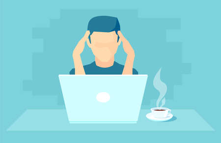 Vector of an overworked man with headache working on laptop feeling under stress