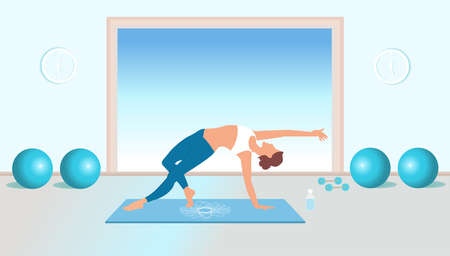 Vector of a fit young woman practicing yoga and pilates