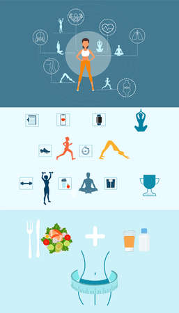 Fitness and healthy diet concept. Vector of an exercising woman running, practicing yoga, aerobics and eating balanced food  Stock Illustratie