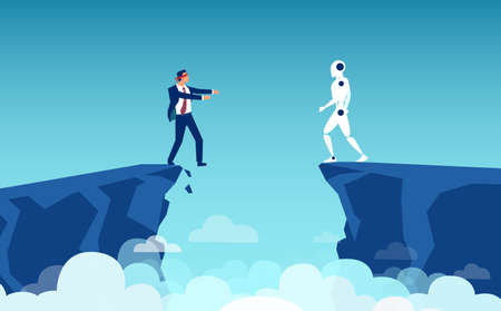Vector of a businessman about to fall of a cliff and a robot looking at him from the other side
