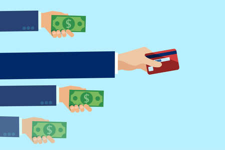 Vector of people hands making payment with cash and most popular method by credit card.