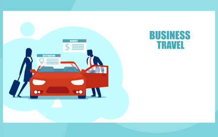 Vector of businesspeople renting a red car for business travel