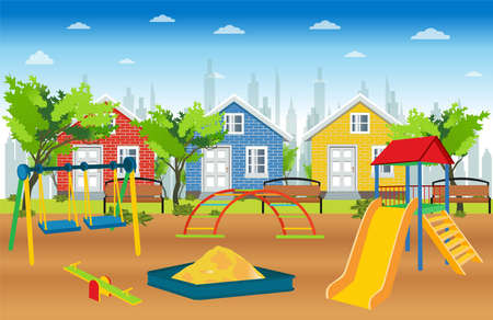 Vector of a kids playground with slides, swings and sand box in a suburban neighborhood surrounded by green trees