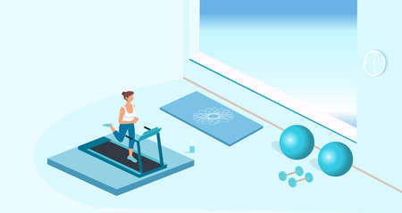 Vector of a young fit woman running on treadmill in a fitness gym Ilustração