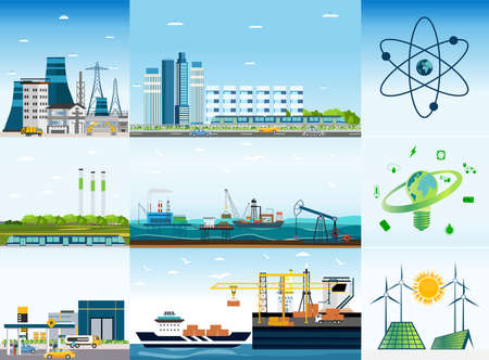 Big city and types of energy sources infographic. Vector of a megalopolis with, plants, factory, shipyard, buildings and eco friendly solar panels and wind turbines Ilustração