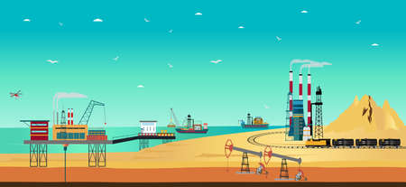 Vector of oil industry with offshore water rig drilling platform extraction, transportation, refinery plant Ilustração