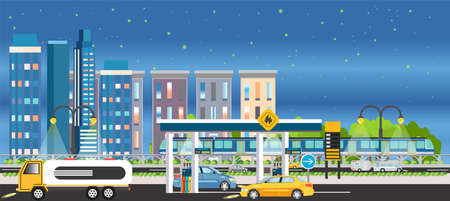 Vector of a night city with gas station and cars fueling, building houses and skyline background with a starry sky Ilustracja