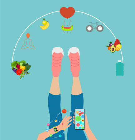 Vector of a fit woman hand wearing smart watch synchronized with mobile phone via app tracking her daily activity and diet calories