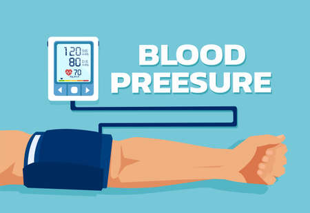 Vector of a man checking arterial blood pressure. Healthcare and monitoring health concept.