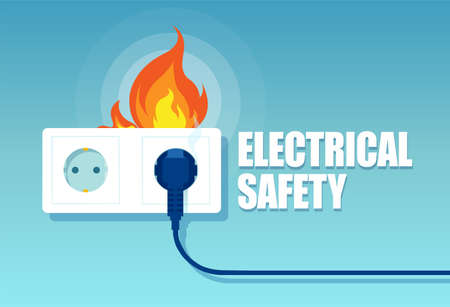 Vector of an electric faulty outlet and a plug on fire from short circuit on blue background  Ilustração