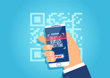 Vector of a businessman hand holding smart phone and scanning QR code Ilustração