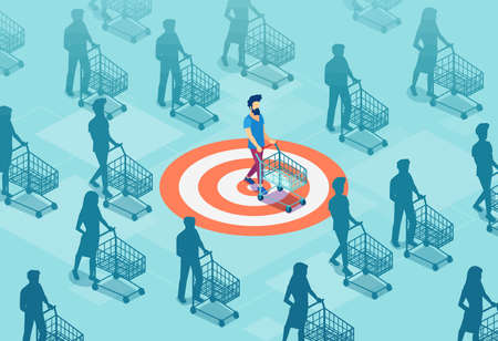 Target sales and marketing accuracy concept. Vector of a targeted customer with a shopping cart