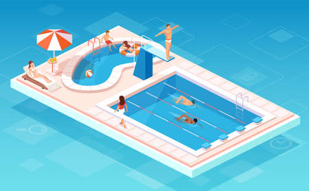 Isometric vector of a swimming pool with swimmers competing, people relaxing by the smaller pool, lifesaver being on guard Ilustração