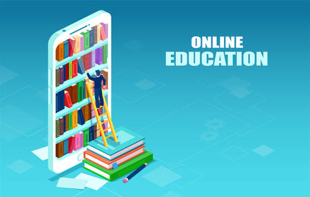 Vector of an online digital library and a student picking his book from a digital library shelve. E-books and online education concept.