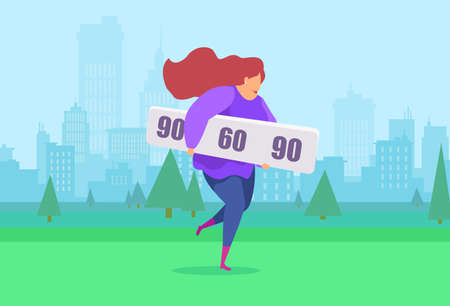 Vector of a young woman jogging willing to reach ideal figure parameters