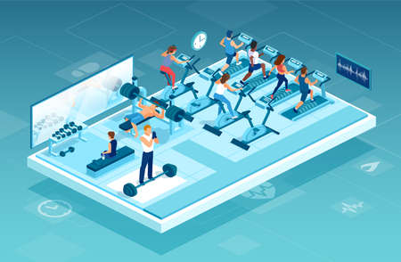 Isometric vector of a modern gym with men and women lifting weights, exercising, doing cardio workout