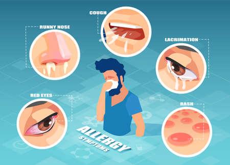Allergy symptoms concept. Vector of a sick sneezing man having cough, skin rash, runny nose, sore eyes Illustration