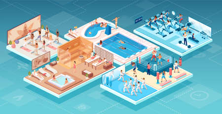 Isometric vector of people practicing sports and relaxing at fitness and wellness center in different workout areas   イラスト・ベクター素材