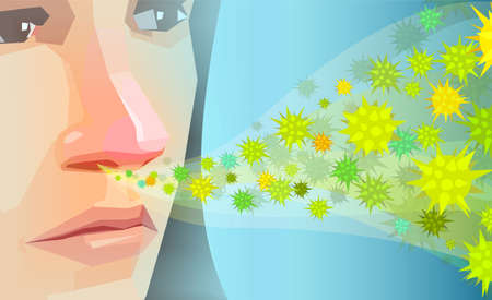 Vector of a young woman inhaling pollen, dust hay fever allergens