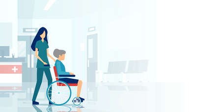 Vector of a medical nurse assisting an elderly woman in a wheelchair. 向量圖像
