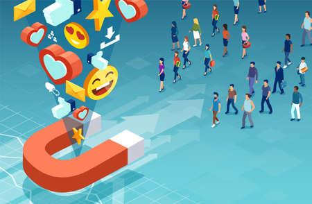 Marketing sui social media e concetto di pubblico di destinazione. Vettore isometrico di clienti uomini e donne che fanno la loro scelta del prodotto
