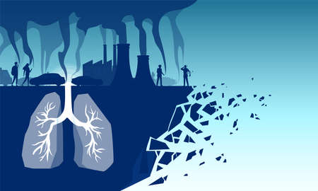 Bad air quality and smoking hazards concept. Vector of human lungs inhaling toxic pollutants, industrial toxins, cigarette smoke and car emissions