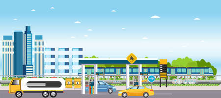 Vector of a modern city landscape with gas station and cars fueling, building houses, passing by metro train and skyline background  イラスト・ベクター素材
