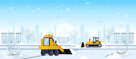 Vector of two snow plow tractors cleaning city winter streets after a snowstorm