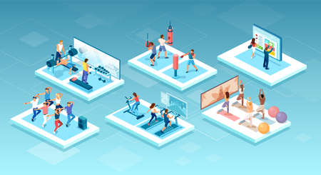 Isometric vector of people doing different workouts at the gym, fitness center Illustration