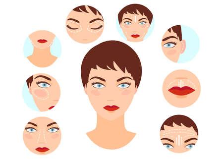Concept de chirurgie plastique. Vecteur d'une femme avec rhinoplastie, lifting du visage, blépharoplastie, procédures d'otoplastie effectuées Vecteurs