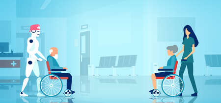 Elderly people patient care concept. Vector of a nurse and a robot pushing wheelchair with senior people