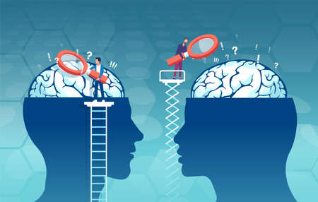 vector of scientists with magnifying glass researching male and female brain looking for psychology differences