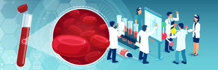 Vector of a medical test tube with red blood cells and a team of lab medical personnel performing diagnostic tests Illustration