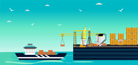 Vector of a cargo ship loading in a city port with cranes on dockside and containers from freight vessel. Illusztráció