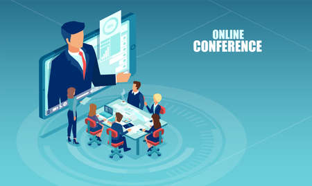Vector of business people meeting in a office having conference call with a presenter. Online seminar, internet learning concept Ilustracja