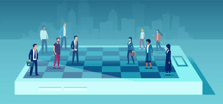 Vector of a businesswomen team competing in corporate career, chess game against a group of businessmen