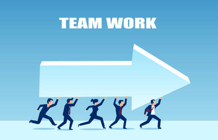 Vector of a team of business people running together and carrying an arrow