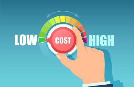 Vector de la mano de un hombre de negocios girando el dial de costos a una posición baja, reduciendo los gastos Ilustración de vector