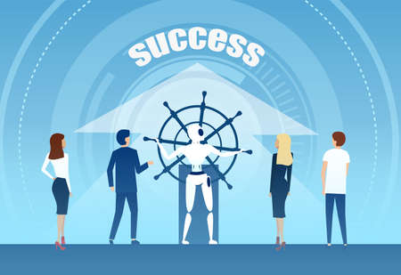 Vector of a robot in charge of ship steering wheel bringing business people team to success.