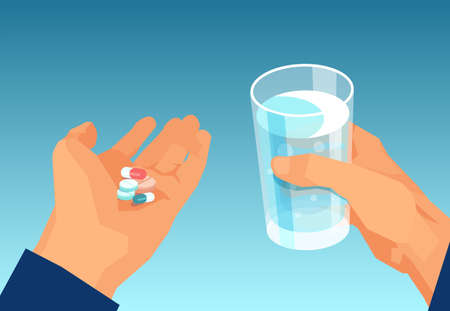 Vector of a man taking pills holding a glass of water. Medical treatment concept.