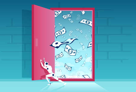 Vector of a robot ai opening a door of financial opportunities  Illustration