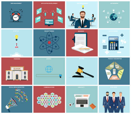 Vector set of a business management, financial services and risk analysis icons for website development