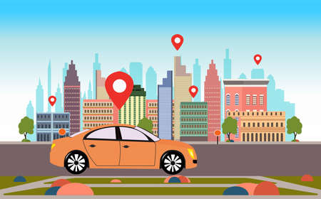 Vector of a car with location pin on a road on a cityscape background  Illustration