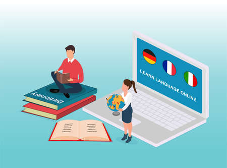 Isometric vector of online language learning concept with student reading book and using internet teacher coaching Banque d'images - 137798530