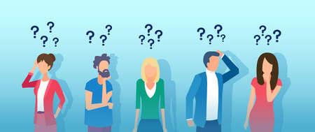 Vector de hombres y mujeres jóvenes pensativos que piensan tener preguntas