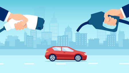 Vector concept electric vs gasoline car choice on a city building skyline background. Vector Illustration