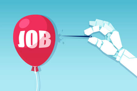 Vector of a robot hand with a needle ready to bursts a balloon job market.  Ilustração