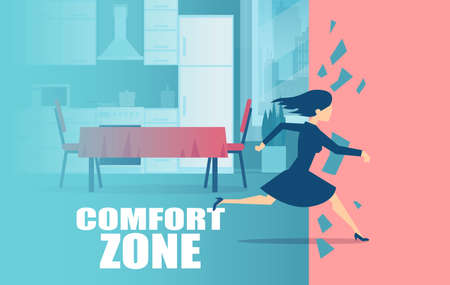 Vector of a young woman housewife running away from comfort zone