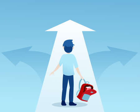 Vector of a young student at crossroads deciding which path to take in education