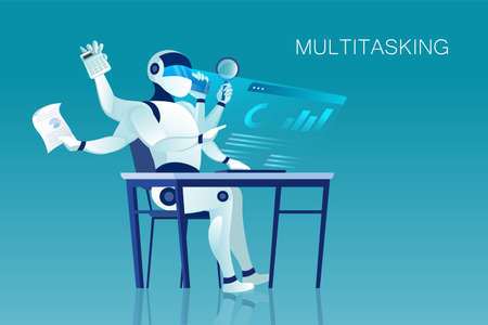 Vector of a multitasking robot sitting at office desk Illustration